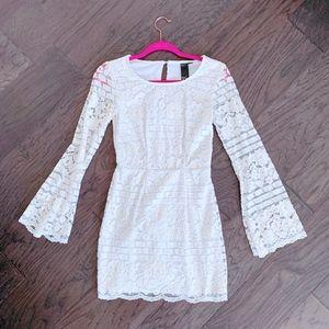 Macy's Cream Lace Bell Sleeve Dress